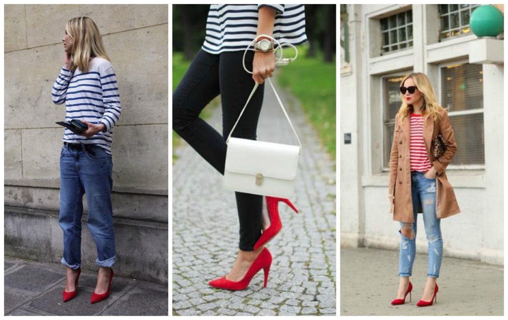 С чем лучше всего носить красные шпильки?