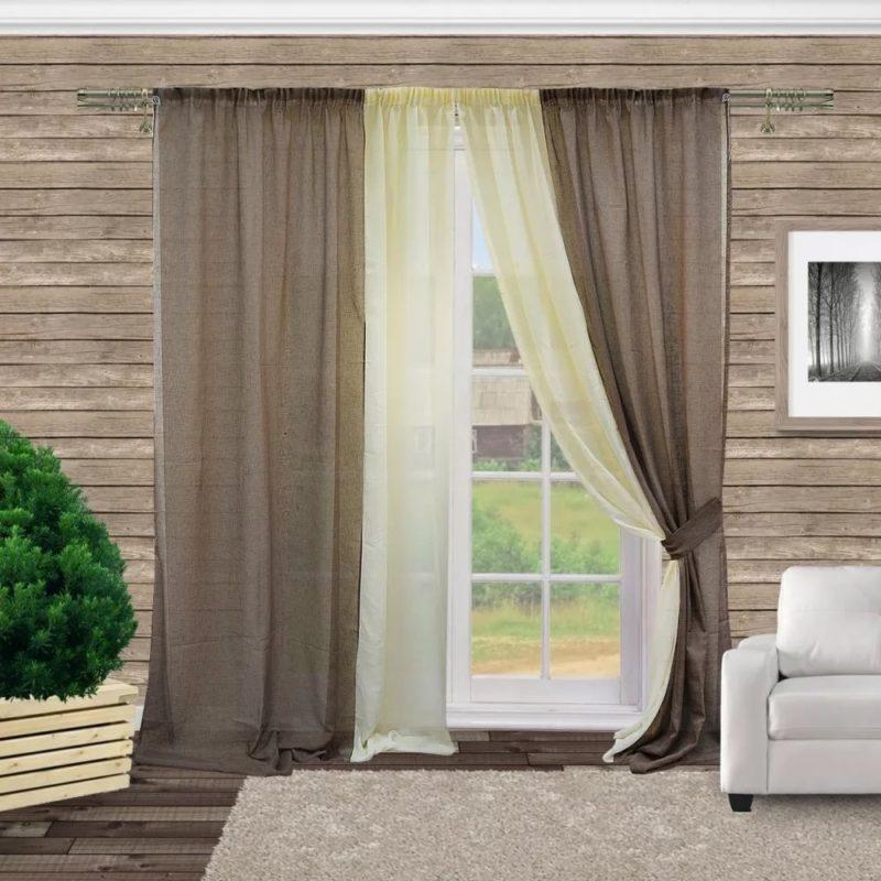Льняные шторы — экологичный и супермодный вариант для гостиной