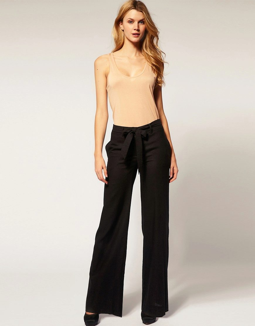 черные ультрадлинные брюки