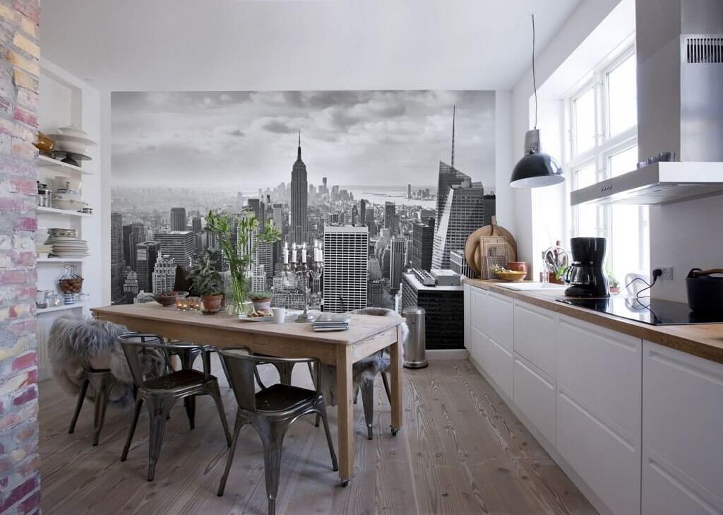 Оформление стен с использованием 3Д фотообоев