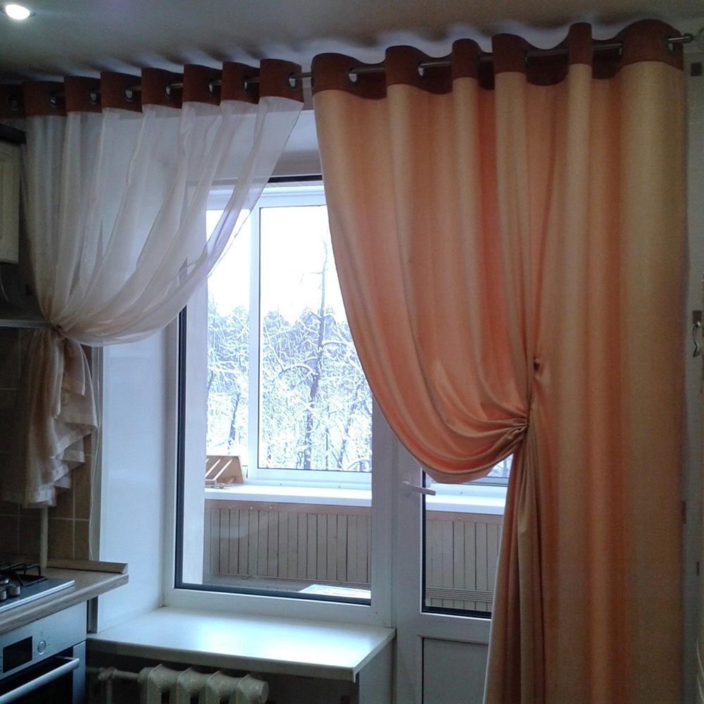 асимметричные шторы на кухню