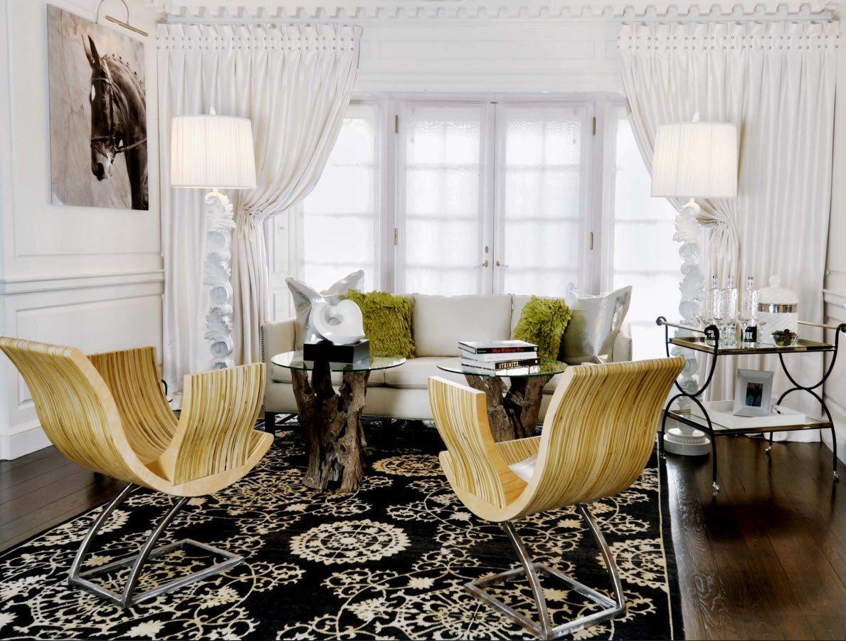 шторы в белую гостиную на эркерное окно