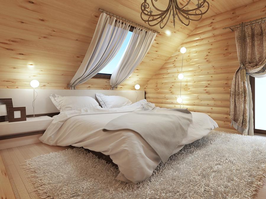 ковер шегги в интерьере спальни