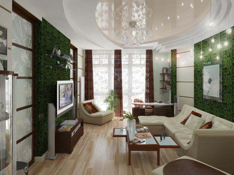 Зеленый ковер в интерьере гостиной: грамотно работаем с цветом