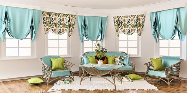лондонские шторы в комнате