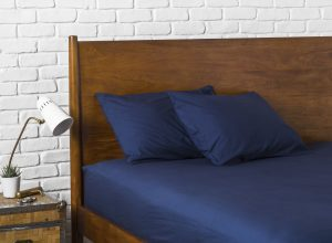 постельное белье из перкали синего цвета