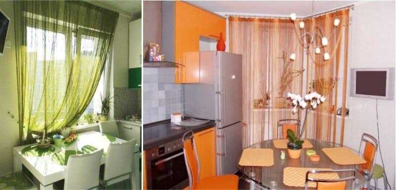 дизайн кухни со шторами-нитями