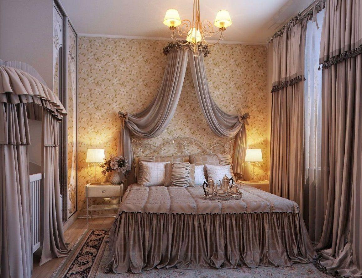 удлиненные шторы в спальню