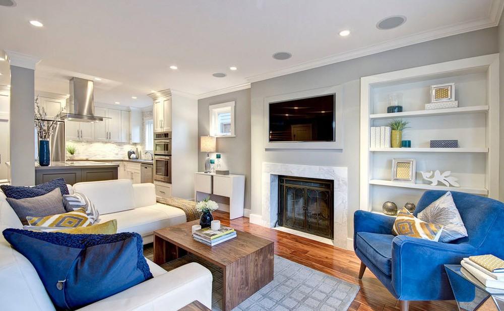 мебель в гостиной в серых тонах