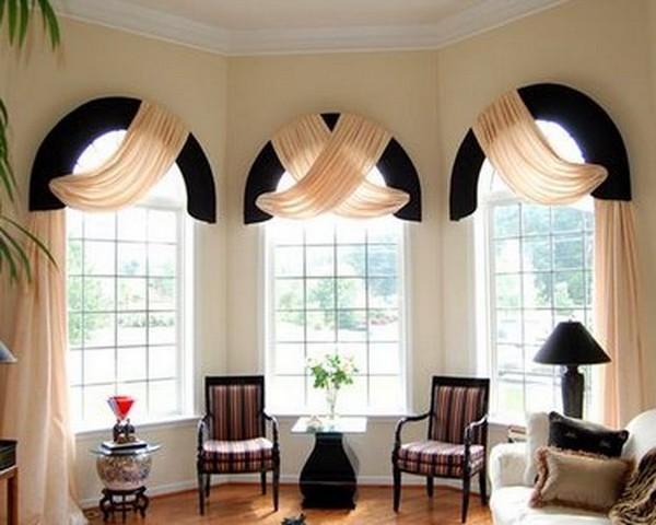 Шторы на арочные окна: дизайнерские идеи с фото