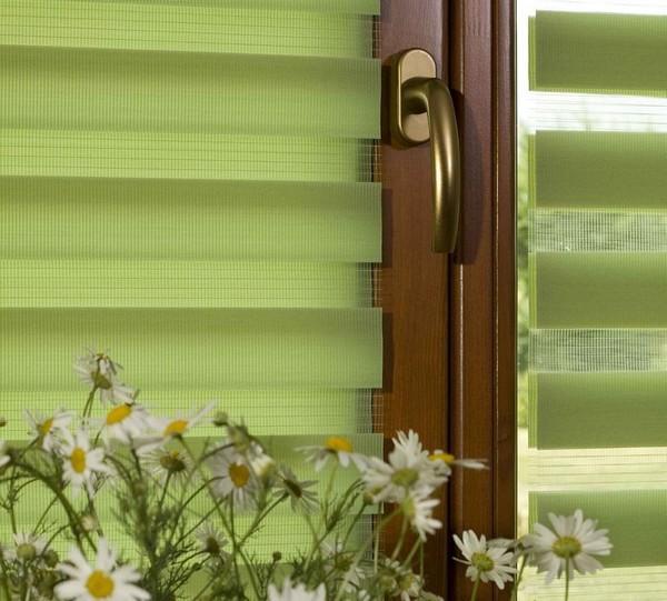 плиссированные жалюзи на окнах